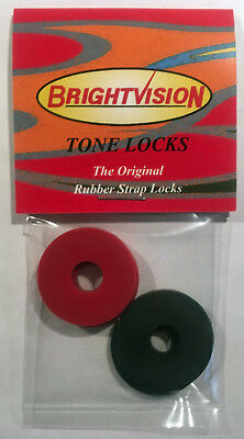 Red Classic Guitar - Four BLACK and RED Rubber Guitar Strap Locks-Classic Design & Great Reliability