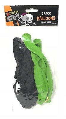 Halloween Punch Ball Balloons (Halloween Balloons Punch Ball Black & Green 2 Spooky Design Party favours)