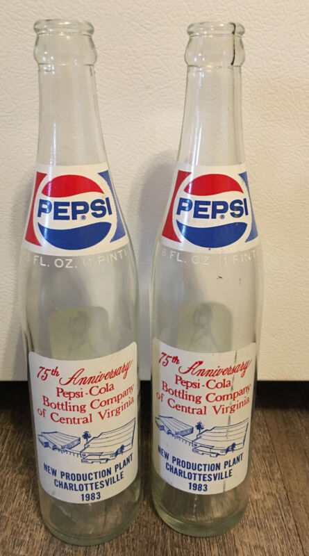 2 Pepsi Bottles 16 Oz 1983 75th Anniversary Pepsi Cola Bottling Co. Virginia