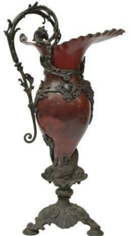 Antique Ewer, French, Red, Decorative Ewer Form Garniture, Early 1900s!!