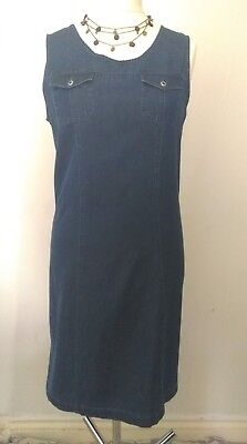 Vtg 90s Kathy Ireland Dark soft Denim Pinafore Dress Large UK 14 Summer