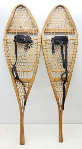 """Antique Vintage 12"""" X 43"""" Snowshoes Usable or Decor - Free Shipping"""