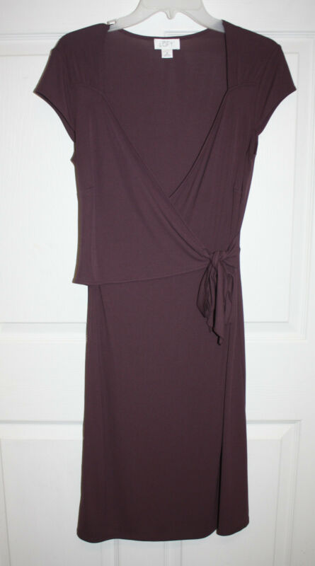 Womens Ladies Ann Taylor Loft Plum Cap Sleeve Wrap Dress Size 6