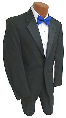 New Men's Black Tuxedo Jacket After Six Troy One Button Satin Notch Lapels 58R Black Notched One Button Tuxedo