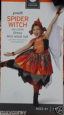 Youth Black & Orange Spider Witch Costume Dress Mini Witch Hat Size Large 10-12 - Girl Witch Costume