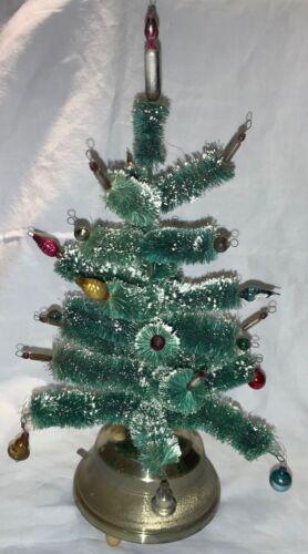 VINTAGE MUSICAL BOTTLEBRUSH TREE WITH MERCURY GLASS ORNAMENTS