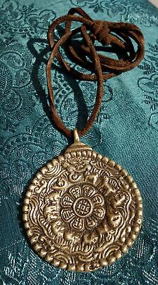 Massive Tibetan Calendar, Buddha Amulet/Pendant + Thick Leather Band Nepal