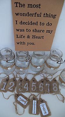 Lot White Wedding Burlap  Decorations Mason Jar Table #'s  Sign  - Mason Jar Table Centerpieces
