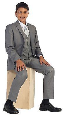 Magen Kids Boys Formal Bridal 5 Pcs Set Suit Size 1-18 GRAY 2 Buttons - Kids Grey Suits