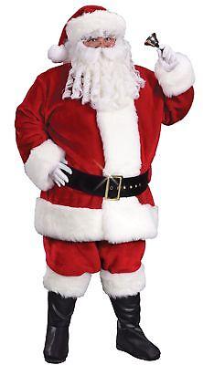 Crimson Santa Claus Suit Costume Boot Covers Belt Faux Fur Plus Size -