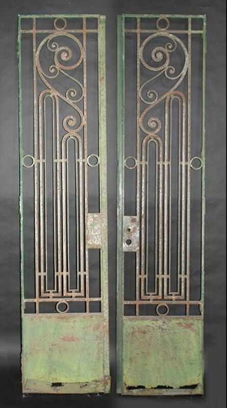 Iron Gates with Scroll Decoration c. 1920 vintage industrial