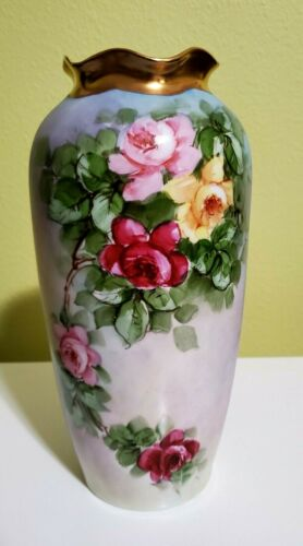 AUSTRIA IMPERIAL PSL VASE with roses, ANTIQUE HAND PAINTED, SIGNED