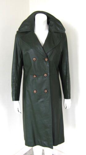 Vintage 1970s Green Leather Long Coat Sz M