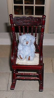 DOLLS' HOUSE 1/12TH SCALE FLUFFY BLUE TEDDY BEAR