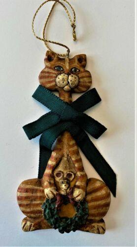 """Kurt Adler Resin Orange Tabby Cat Christmas Ornament 5"""" long Great condition"""