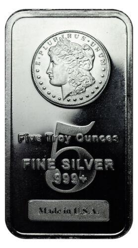 Morgan Dollar Design 5 oz Silver Bar MADE IN USA SKU27205