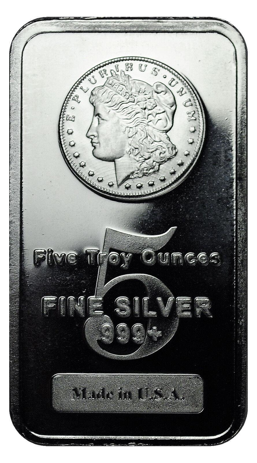 Daily Deal Morgan Dollar Design 5 Troy Ounce Silver Bar MADE IN USA SKU27205