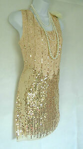 NUDE 20'S GATSBY VINTAGE LOOK CHARLESTON BEADED SEQUIN FLAPPER DRESS SIZE 12/14