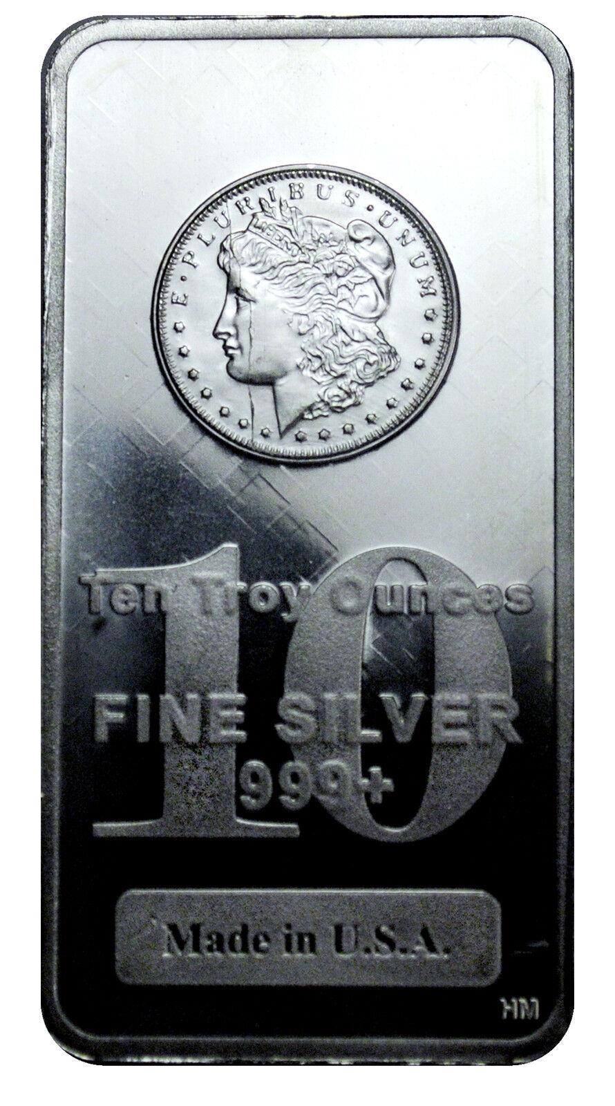 Morgan Dollar Design 10 Oz .999 Fine Silver Bar - MADE IN USA SKU27207