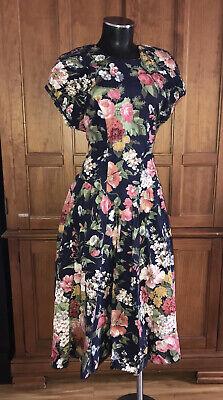 80s Dresses | Casual to Party Dresses VTG 80s Floral Garden Print Cotton Boho Country Flared Full Skirt Midi DRESS $58.00 AT vintagedancer.com