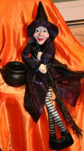 """HALLOWEEN Witch doll 26"""" new no tag with sparkly broom."""