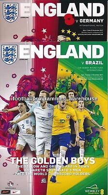 ENGLAND v Brazil & Germany set of BOTH International  Friendly programmes 2017