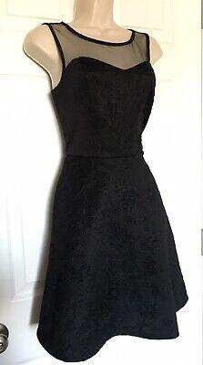Xhilaration Little Black Dress Medium Sleeveless Sheer Embossed Floral Design