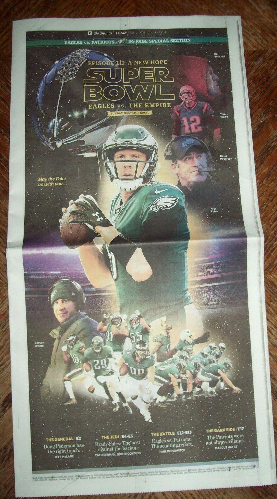 Philadelphia Eagles vs The Evil Empire Patriots collectable newspaper Super Bowl