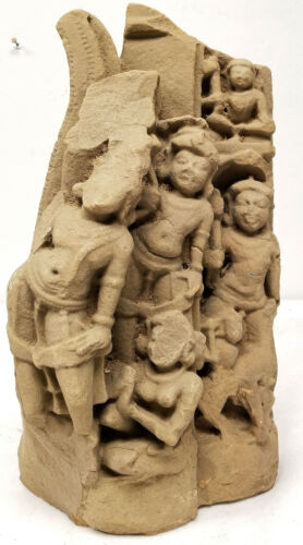 Antique Early Carved Sandstone Cambodian SOuth East Asian Khmer Temple Fragment