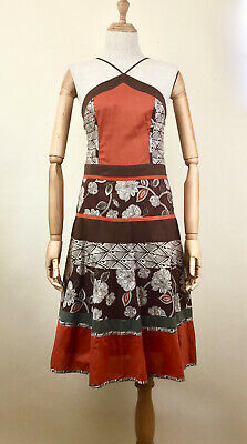 BCBG MAXAZRIA BROWN FLORAL LINED COCKTAIL DRESS SIZE 6