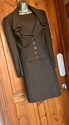 STUNNING NEXT CHOCOLATE BROWN  TAILORED SUIT JACKET & DRESS UK6 US2 EU 32/34