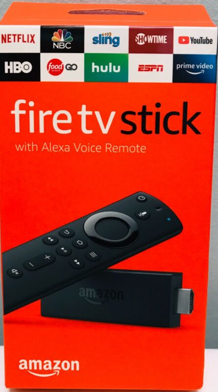 AMAZON FIRE TV STICK  WITH  ALEXA VOICE REMOTE, BRAND NEW