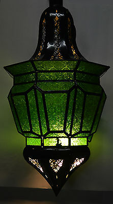Moroccan Glass Lantern Lamp Indoor Outdoor Electric Candlelit  X-Large Green
