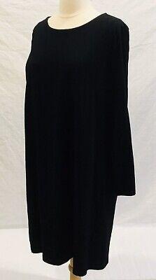 EILEEN FISHER Sz M Tunic Top Dress Cotton Blend Black Round Neck Pullover -