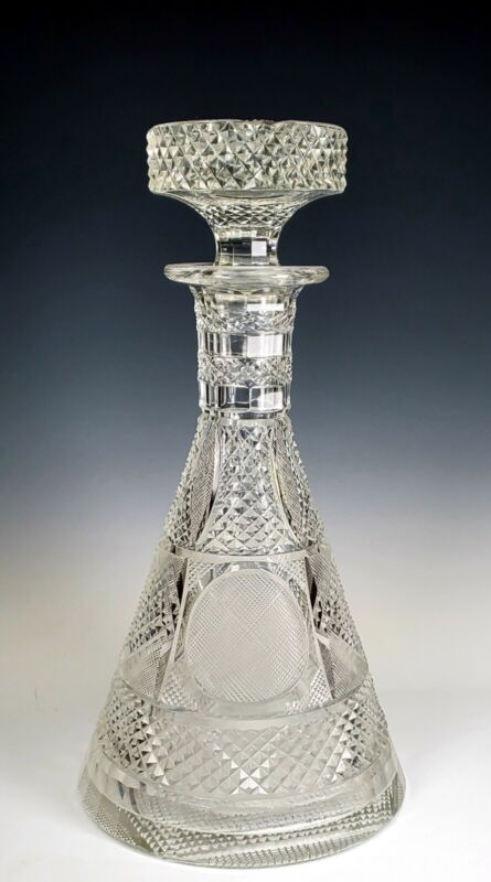 Amazing Finely Cut Crystal Glass Antique Decanter