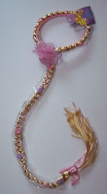 Disney Store Adult Womens Tangled Razpunzel Braid Wig Headpiece With Flowers