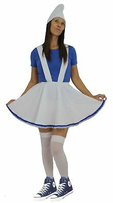 Lady Smurf Costume (Ladies White & Blue Garden Gnome Fancy Dress Complete Smurf)