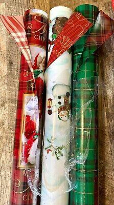 Hallmark Heavy Duty Reversible Christmas Plaid Santa Snowman Wrapping Paper NWT