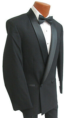 New Mens Black After Six Palermo Double Breasted Tuxedo Jacket Satin Shawl Lapel