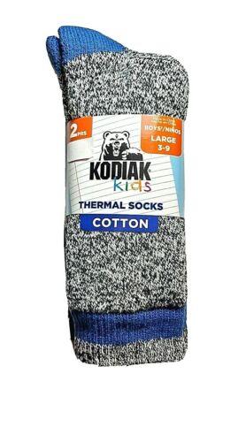 KODIAK Kids Boys Thermal Socks Cotton 2 pair pack NEW Size Large 3-9 Blue/Black