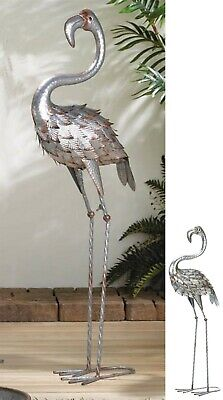 "38"" STANDING TALL GALVANIZED FLAMINGO IRON STATUE SCULPTURE *Indoor Outdoor* NIB, used for sale  Redlands"