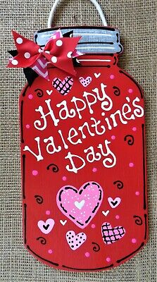 HAPPY VALENTINE'S DAY Mason Jar SIGN Wall Art Door Hanger Plaque Holiday Decor ()