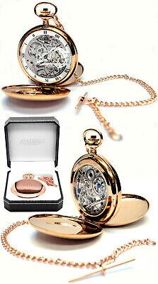 Jean Pierre Twin-Lid 17 Jewel Skeleton Pocket Watch Rose GP Free Engraving g250r