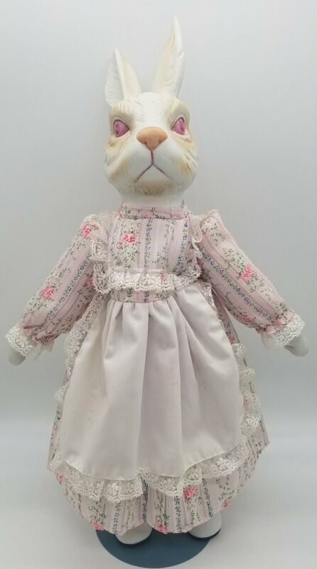 "Easter Bunny Rabbit Doll 18""  Porcelain / Bisque & Cloth Vintage EASTER Doll HTF"