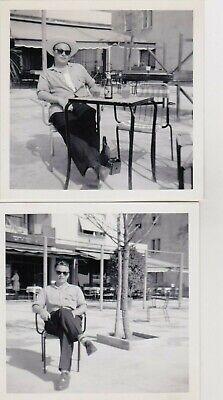 2 OLD PHOTO  PEOPLE FASHION MAN SUNGLASSES DRINKING (Old People Sunglasses)