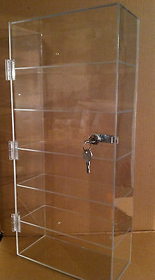 Acrylic Counter Top Display Case Or Wall Mount 10 X 4.5 X 22 Locking Security