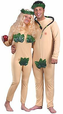 Adam and Eve Couples Costume Leaf Jumpsuit Naked Nude Fancy Dress Adult 2 Outfit
