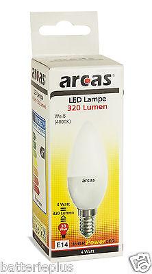 Arcas LED Sparlampe E14 4 Watt = ca. alt 30 Watt 4000k Weiß LED-Kerze EEK A+