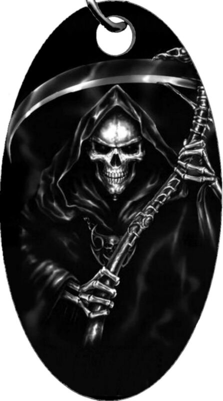 Grim Reaper Scythe Sickle Death Symbolized Aluminum Oval Keychain Key Chain NEW