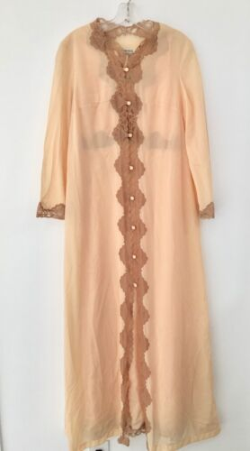 VINTAGE EMILIO PUCCI PEACH PEIGNOIR & NIGHTGOWN SET FOR FORMFIT ROGERS SZ S VGC